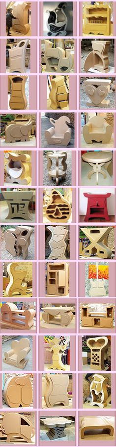 I LOOOOOVE cardboard furniture, so creative looking! Cardboard Cartons, Cardboard Paper, Cardboard Crafts, Paper Crafts, Cardboard Playhouse, Cardboard Storage, Cardboard Furniture, Funky Furniture, Playhouse Furniture