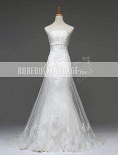 Nouvelle Arrivée robe de mariée avec ligne sublime Prix : €179,99 Cliquez pour plus d'infos : http://www.robedumariage.com/dentelle-robe-de-mariee-pas-cher-tulle-satin-applique-sans-bretelle-product-7149.html