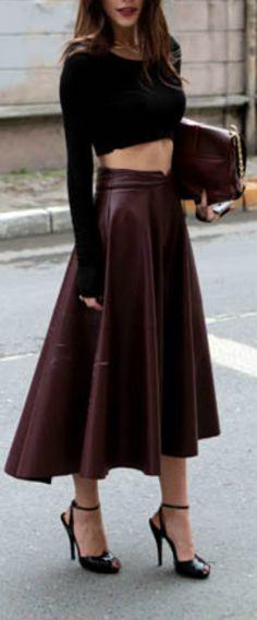 Burgundy leather swing skirt + black crop top =Haute!