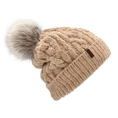 Our velvety Chenille Winter Hats in a cable knitted pattern are extra soft and cozy. The ultra-plush Sherpa lining keeps your head and ears warm during the cold winter months. With a fluffy faux-fur Pom Pom, these chunky beanie hats will be sure to add style to any outfit. Take them with you when heading outside or enjoying the outdoors in the snow - you will soon discover they are a must-have cold weather accessory!