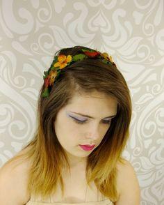 Autumn Flower Headband, Fall Flower Headband, Boho Headband, Flower Crown, Mori Kei, Bohemian Accessory, Everyday Headband, Flower Crown by RuthNoreDesigns on Etsy