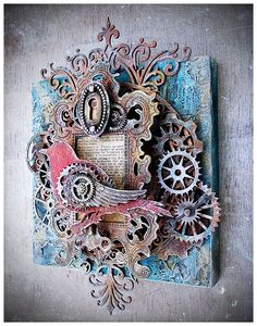 Time Flies Mixed Media with Leaky Shed Studio. Takeaway note - I like the gears and wing stacked on the bird.