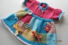 PDF Knitting Pattern Patchwork Judy baby Dress by HamptonTowers