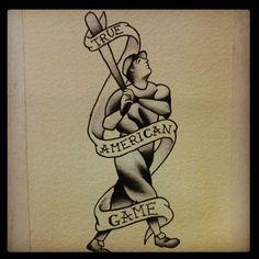 Cool vintage baseball tattoo idea