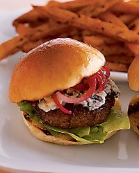 Stilton Sirloin Burgers with Onion Jam, The Bar at the Peninsula  Chicago