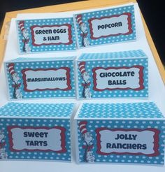 Dr Seuss Food or Candy Buffet Labels