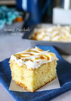 Caramel Macchiato Poke Cake - Light & fluffy white cake, added caramel macchiato iced coffee soaked in & topped with whipped cream & drizzled with caramel -scrumptious. on kleinworthco.com #IDelightIn10 #ad