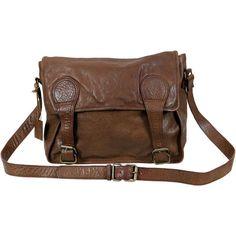 VIPARO Tan 13 Inch Vintage Wash Leather Satchel Messenger Bag - Gustaf (280 AUD) ❤ liked on Polyvore