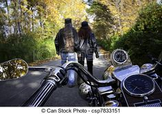 couple motorcycle photographs | Photography of Bikers Couple Walk - Biker couple parks the motorcycle ...