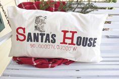 DIY Latitude and Longitude Pillow - Santa's House
