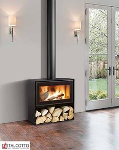 Wood Burning floor standing fireplace from Italcotto