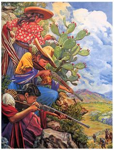 Vintage Mexican calendar art--strong women with guns--Viva the Revolution!