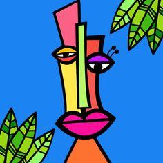 Abstract Face Art, Abstract Drawings, Art Drawings, Easy Paintings, Animal Paintings, Cubism Art, Madhubani Art, Mini Canvas Art, Wall Drawing