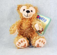 "8"" Duffy Bear, Disney Parks, Lt Brown Plush, Hidden Mickey, w/Story book & Tags #Disney"