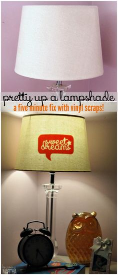 Pretty up a lampshade with this vinyl silhouette lampshade hack!  A five minute fix that uses leftover vinyl scraps.