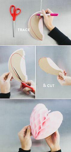 cut tissue paper balls into hearts