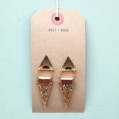 Image of Double Triangle Earrings in Gold Glitter and Gold by Wolf and Moon