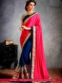 Pink & Blue Bollywood Designer Beautiful Sarees Sarees on Shimply.com