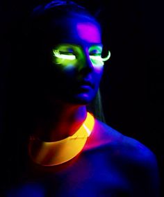 Girl with neon face & necklace