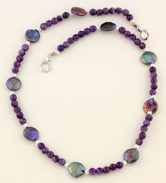 Iridescent Coin Pearls Necklace, purple polished Agate, silver tone clasp by Gemjunky1 on Etsy
