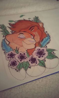 The flowers and bottom of this Disney Tattoos, Movie Tattoos, Cool Pencil Drawings, Amazing Drawings, Disney Animation, Animation Film, Tattoo Casal, Lion King Drawings, Disney Sleeve