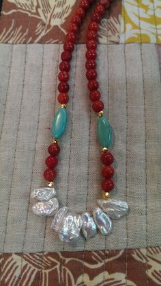 Handmade Keshi Pearl, Coral, and Turquoise Magnesite 14kt GF Necklace by BelandariaDesigns on Etsy