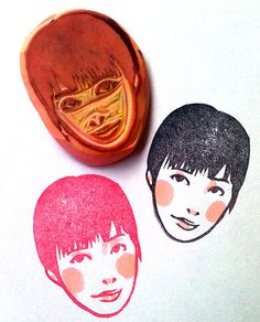 Hand carved stamps by Kozue Schwartz http://www.etsy.com/shop/DearYouFromKozue   http://girlsarecrying.blogspot.com/