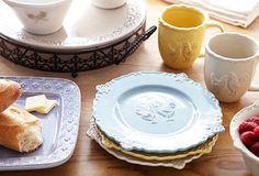 Fleur De Lis plates, cups, serving pieces, cake plates, pitcher, etc...in blue of course