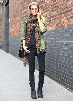 utility jacket & animal print, just love it looks so cool and effortless for street style