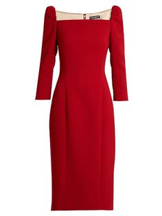 DOLCE & GABBANA Square-Neck Stretch-Wool Pencil Dress. #dolcegabbana #cloth #dress