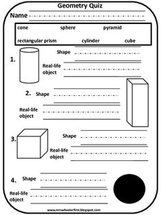 Here's a quick quiz to use to assess your young students as they learn about 3D shapes!...