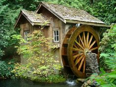Old water mill. Rustic wooden water mill with wheel turning , Critter Sitters, Old Grist Mill, Water Powers, Water Mill, Old Barns, Le Moulin, Old Buildings, Covered Bridges, Country Life