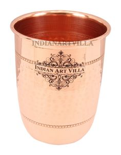 Copper  Hammered Glass Goblet Tumbler Cup 450 ML - Good Health Benefit Yoga Ayurveda