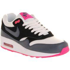 Nike Air Max 1 (l) ($55) ❤ liked on Polyvore featuring shoes, sneakers, 19. shoes., trainers, hers trainers, white dark army blue pink, nike sneakers, blue sneakers, blue shoes and nike shoes