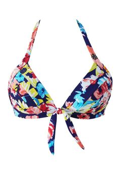 0d18988197 Blooming Navy Retro Tie Front Plus Bikini Top. Retro High Waisted ...