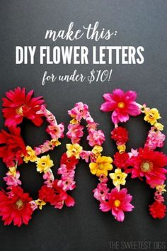 DIY floral letters are an easy craft project. I made these alongside my bard car. But these would be super cute as a monogram for a door, or to spell out a name in a kids room, too.So many decor options that are super budget friendly! Easy Craft Projects, Crafts For Kids, Diy Crafts, Fake Flowers, Diy Flowers, Art From Recycled Materials, Door Monogram, Elegant Centerpieces, Flower Letters