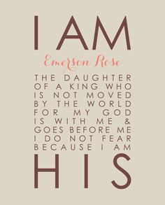 I Am His Daughter of a King Personalized Scripture Print - Christian Baptism Christening Gift - Nursery Girl Decor - 8x10 Print