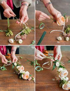 DIY couronne de fleurs fraiches. Bijoux de mariage, Bijoux fantaisie femme…