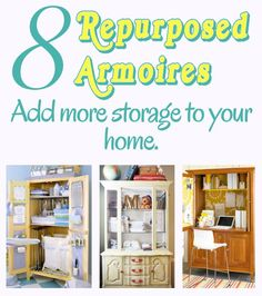 "diy home sweet home: 8 ways to repurpose an armoire. (OK, not technically ""shelves"" - but aren't armoires just shelves with doors?-) Also, the point of shelves is STORAGE, right? Furniture Projects, Furniture Makeover, Home Projects, Diy Furniture, Refinished Furniture, Painted Furniture, Sewing Projects, Do It Yourself Home, Handmade Home"