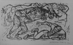 Juegos de Fería, 1963,  Alfredo Zalce, Grabado en madera,  30 x 15 cm.  Taller de la Gráfica Popular.
