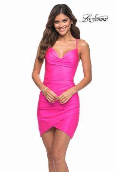 La Femme Fashions Dress 30281 – Terry Costa Long Sleeve Homecoming Dresses, Sherri Hill Homecoming Dresses, Plus Size Prom Dresses, Short Dresses, Teen Dance Dresses, Neon Pink Shorts, Skirt Fashion, Fashion Dresses, Pink Party Dresses