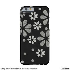 Gray Retro Flowers On Black Barely There iPhone 6 Case