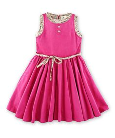 Look at this La faute à Voltaire Pink Corduroy Floral Dress - Toddler & Girls on #zulily today!