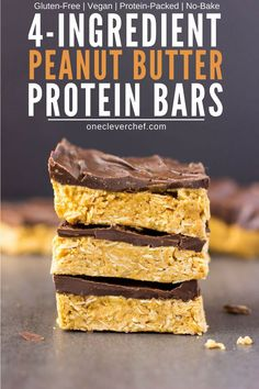 These 4-ingredient peanut butter & oatmeal bars are healthy, no-bake, and protein-packed. These delicious, clean eating Reese flavored protein bars are the perfect post-workout treat. Quick and easy to make, it only takes one bowl and a few minutes of your time to whip those up. Rolled oats are used for the base of this flourless recipe, which is also vegan, dairy-free, gluten-free and... guilt-free! | onecleverchef.com