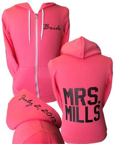 Best seller!  Custom bride zip hoodie!  Perfect zip hoodie for the bride and the entire bridal party!