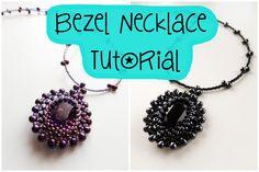 Bezel Necklace Tutorial  Materials:   (A) 3.4mm Gunmetal Miyuki drops (65) (B) 11° Black seed beads (37) (C) 11° Gunmetal seed beads (79) (D) 15° Black seed beads (423) (E) 15° Gunmetal seed beads (65) 18x13mm Swarovski Oval Fancy Stone Jet (1) 0.38mm 7 strand stringing wire (60cm) Smoke 6 lb Fireline (150 cm) Clasp and extension chain. (1) Crimp tube (2)