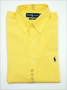 NWT Ralph Lauren POLO Mens Classic Fit Button Down Dress Shirt NEW! YELLOW
