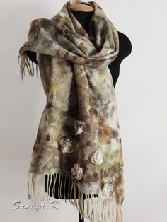 "Fashion Wrap Felted ""Diana"" by SaniyaK on Etsy. The fashion felted wrap is made on natural finest silk of soft merino wool (18 microns). Beautiful textured surface, hand-spun art-yarns, silk roses. Painted of natural leaves in the technique eco-dyeing. Warm and cozy..."