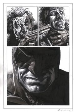 Lee Bermejo has risen to the cream of the crop of the comix industry. Starting 10 years ago working for Wildstorm his work looked like it had been created by a seasoned pro despite his young age. You can find his gallery over at Splash Page Art. His graphic novel Joker (written by Brian Azzarello)is a bestseller. It hit stores after The Dark Knight was in theatres.He's a master that creates textures and layers with pencil and then highlights and outlines the shapes with ink. Brilliant work!