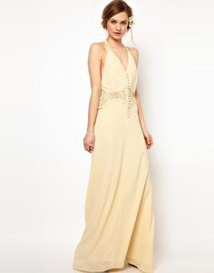 Jarlo | Jarlo Maxi Dress with Lace Inserts and Button Detail at ASOS